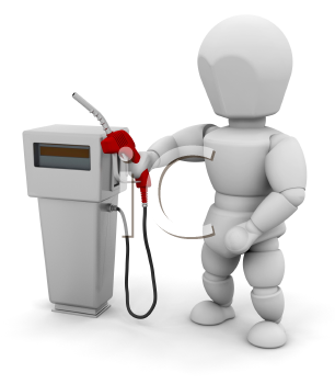 Royalty Free Clipart Image of a Person With a Fuel Pump