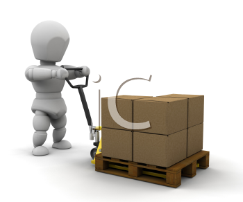 Royalty Free Clipart Image of a Person With a Pallet
