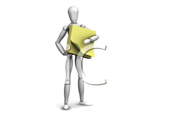 Royalty Free Clipart Image of a Man With a Post-It Note