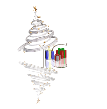 Royalty Free Clipart Image of a Spiral Tree With Presents Beneath