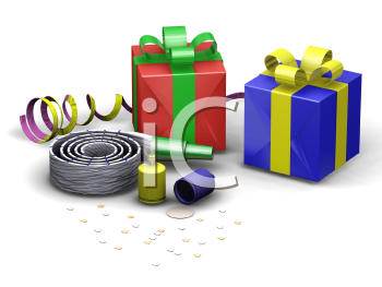 Royalty Free Clipart Image of Party Objects
