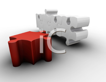 Royalty Free Clipart Image of Puzzle Pieces With a Red One in the Foreground