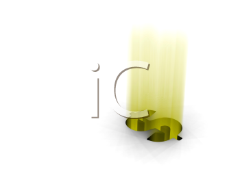 Royalty Free Clipart Image of a Glowing Dollar Sign