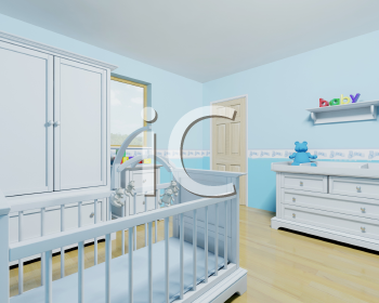 Royalty Free Clipart Image of a Boy's Nursery