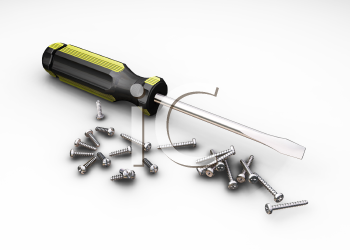 Royalty Free Clipart Image of a Screwdriver and Screws
