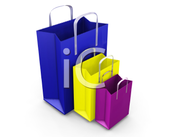 Royalty Free Clipart Image of Three Coloured Shopping Bags