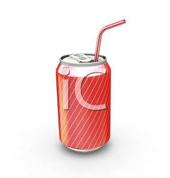 Royalty Free Clipart Image of a Soda Can With a Straw