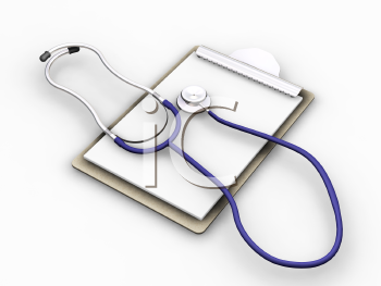 Royalty Free Clipart Image of a Clipboard With Stethoscope