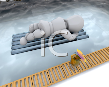 Royalty Free Clipart Image of a Person Floating on an Air Mattress in a Pool