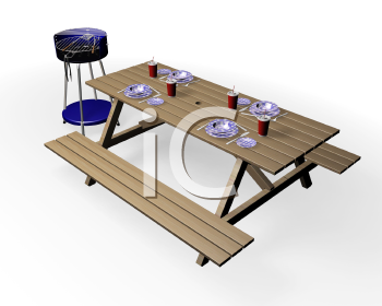 Royalty Free Clipart Image of a Set Picnic Bench and Barbecue