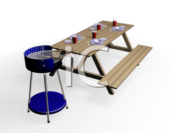 Royalty Free Clipart Image of a Picnic Table and Barbecue