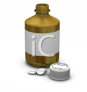 Royalty Free Clipart Image of a Bottle of Tablets