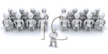 Royalty Free Clipart Image of a Person in Front of a Team