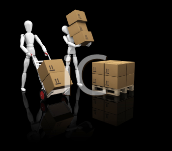 Royalty Free Clipart Image of People Loading Boxes