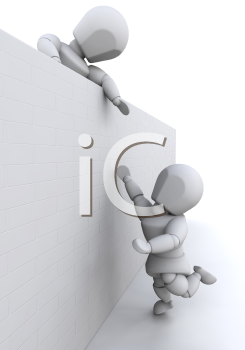 Royalty Free Clipart Image of a Person Helping Someone Over a Wall