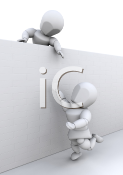 Royalty Free Clipart Image of a Person Helping Another Person Over a Wall