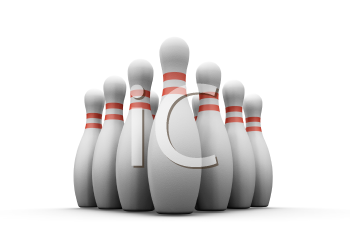 Royalty Free Clipart Image of a Bowling Pins