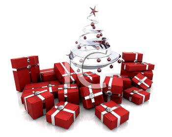 Royalty Free Clipart Image of a Stack of Gifts Under the Tree
