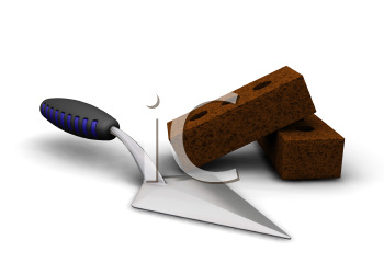 Royalty Free Clipart Image of a Trowel and Bricks
