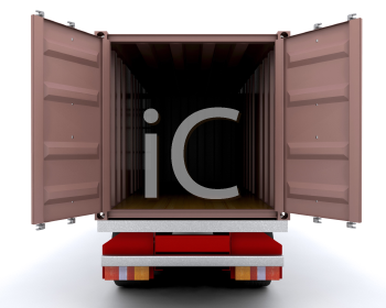 Royalty Free Clipart Image of an Open Freight Container