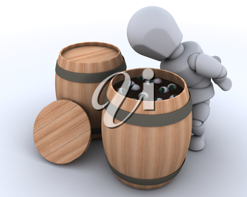 3D render of a man bobbing for eyeballs in a barrel