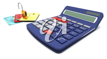 Padlock on generic credit cards  with a calculator