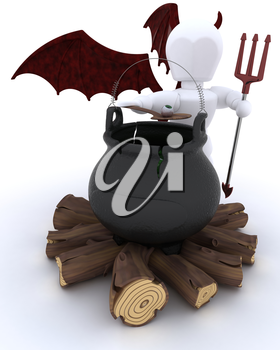 3D render of deamon with cauldron of eyeballs on log fire