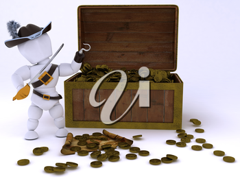 3D render of Pirate with a treasure chest