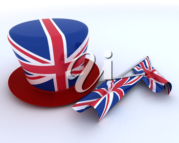3D render of Union Jack Jubilee Hat and  Flag