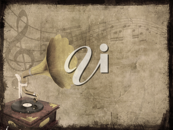 Dirty grunge background with old gramophone and music notes