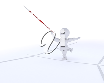 3D render of a man throwing the javelin