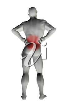 3D render of a man with back pain