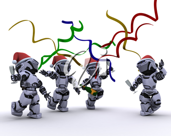 3D render of a Robots celebrating at a christmas party