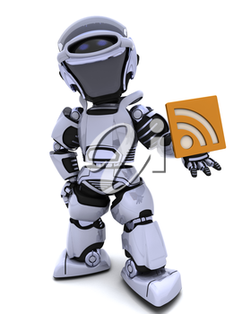 3D render of a Robot with RSS symbol