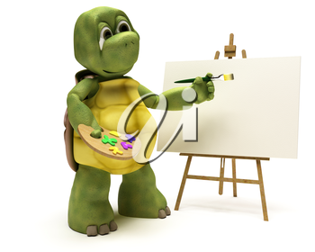 3D render of a Tortoise with easel and paint palette
