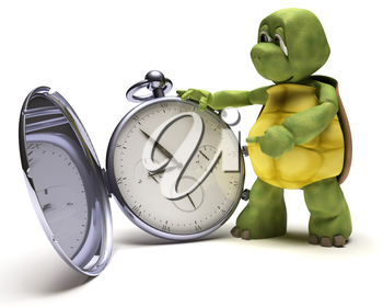 3D render of a Tortoise with a classic pocket watch