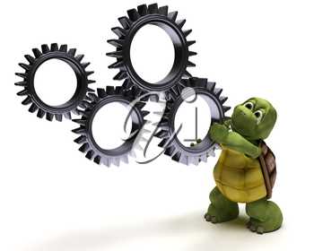 3D render of a Tortoise with gears