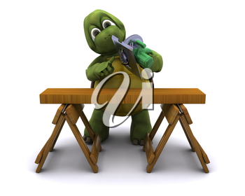 3D Render of a Tortoise with a power saw