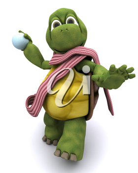 3d render of a tortoise throwing a snowball