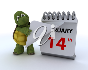 3D render of a tortoise with a calendar
