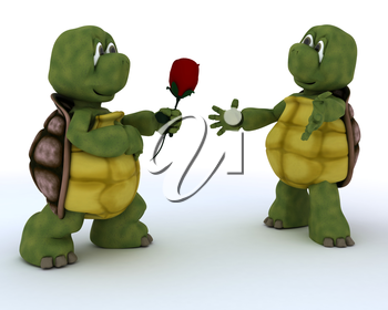3D render of a tortoise with romantic gift
