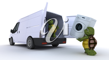 3D render of a tortoises loading a washing machine into a van