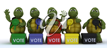 3D render of tortoises canvasing for votes in election