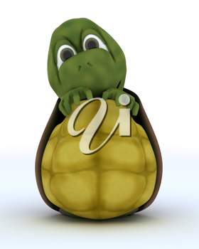 3D render of a Tortoise Caricature Hiding in Their Shell