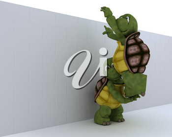 3D render of a tortoise with jigsaw puzzle