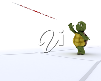 3D render of a tortoise competing in javelin