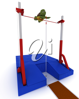 3D render of a tortoise competing in pole vault