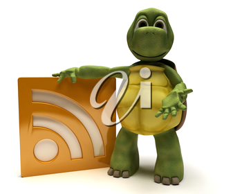 3D Render of a Tortoise with an rss symbol