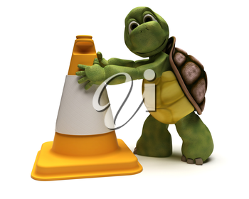 3D render of a tortoise with a caution cone