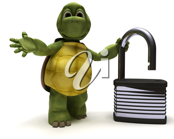 3D render of a Tortoise with padlock
